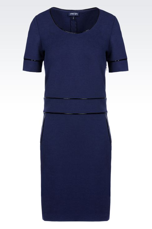 SHEATH IN MILANO RIB WITH PATENT PIPING: Jersey dresses Women by Armani - 1