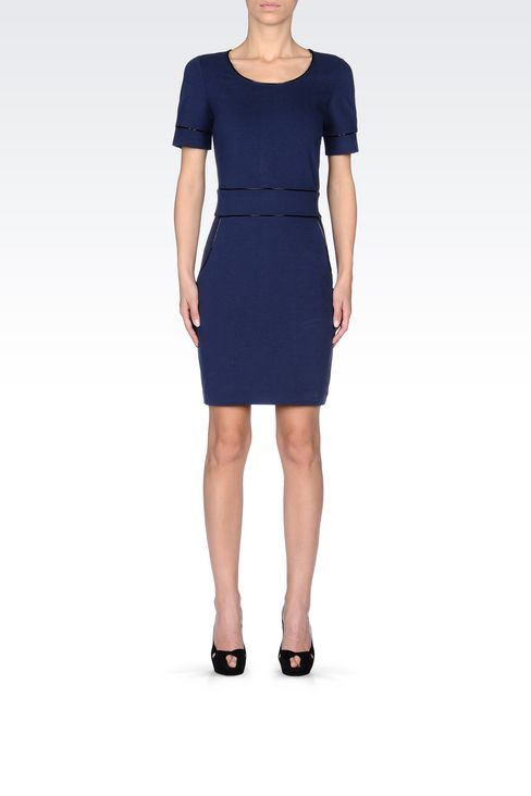 SHEATH IN MILANO RIB WITH PATENT PIPING: Jersey dresses Women by Armani - 2