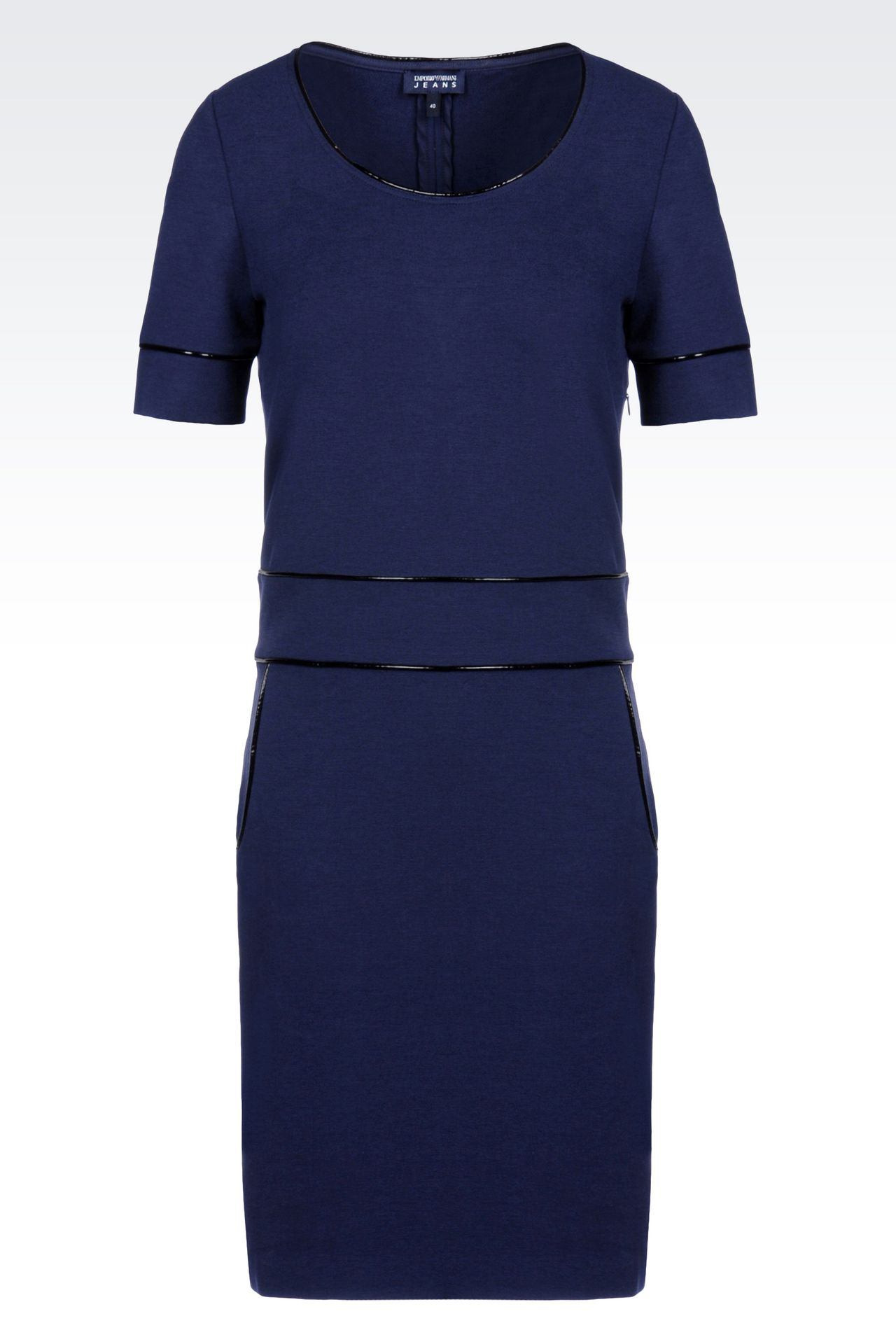 SHEATH IN MILANO RIB WITH PATENT PIPING: Jersey dresses Women by Armani - 0