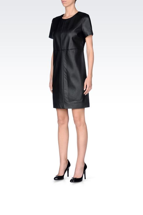 DRESS IN FAUX LEATHER: Short Dresses Women by Armani - 3