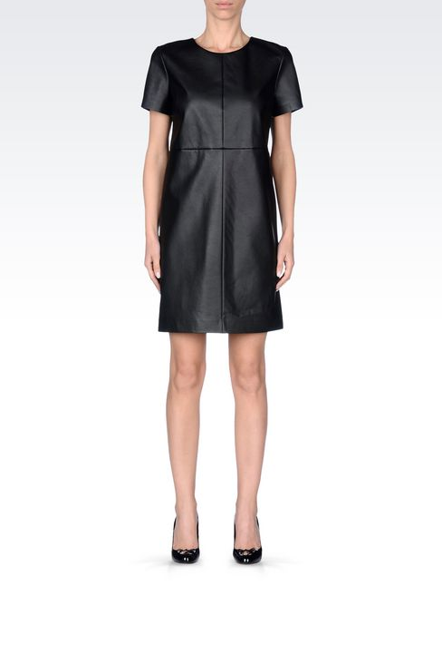 DRESS IN FAUX LEATHER: Short Dresses Women by Armani - 2
