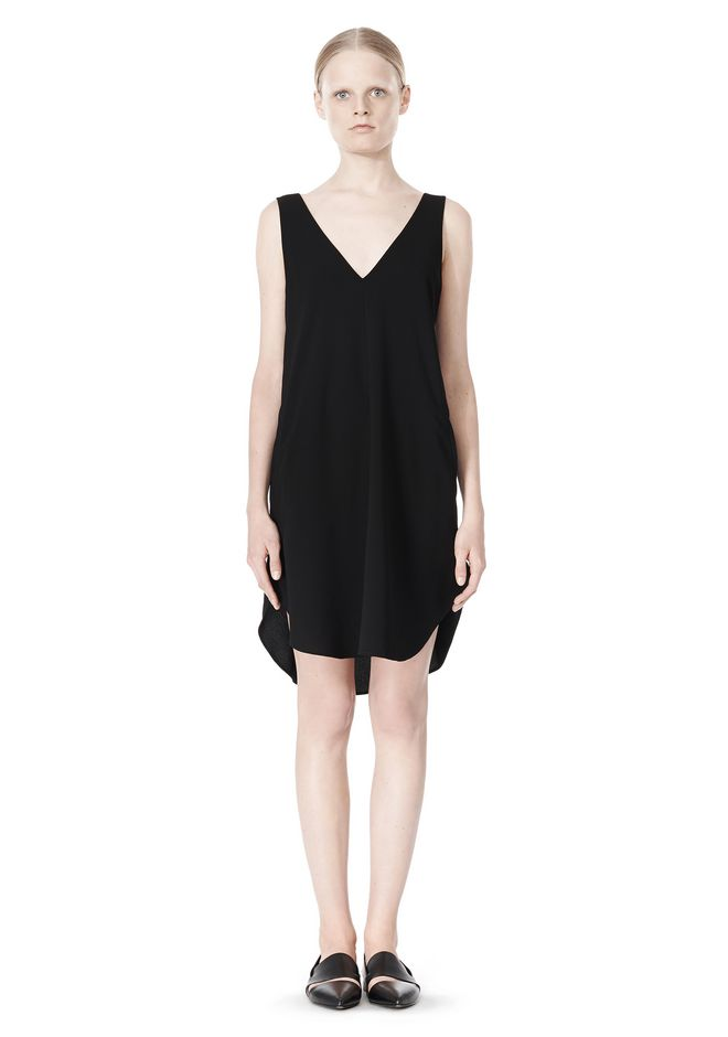 T by ALEXANDER WANG POLY CREPE V-NECK STRAP DRESS
