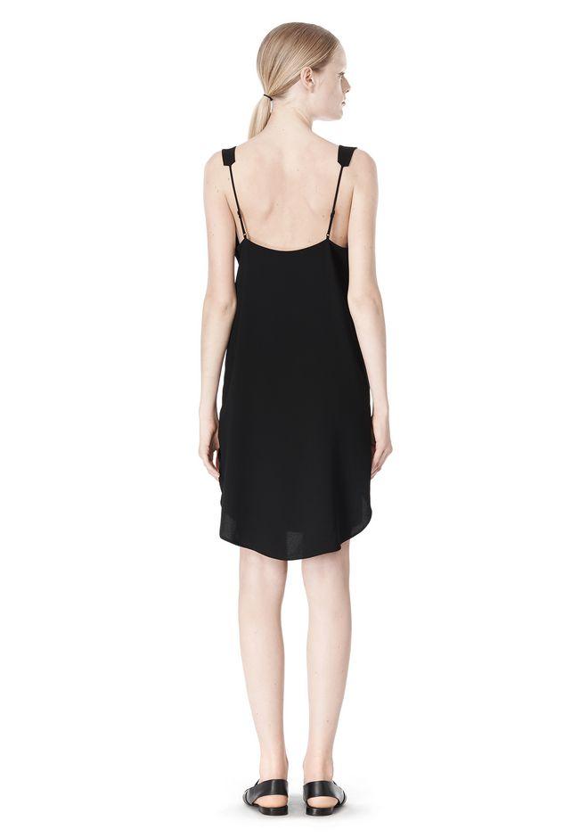 T by ALEXANDER WANG POLY CREPE V-NECK STRAP DRESS Short Dress Adult 12_n_r