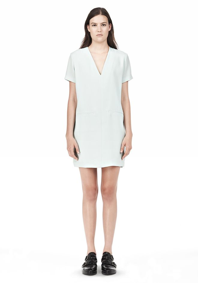 T by ALEXANDER WANG DRAPE SUITING VNECK DRESS Short Dress Adult 12_n_f