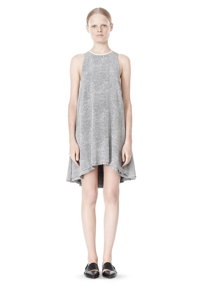 T by ALEXANDER WANG VISCOSE CREPE DRESS WITH LEATHER TRIM