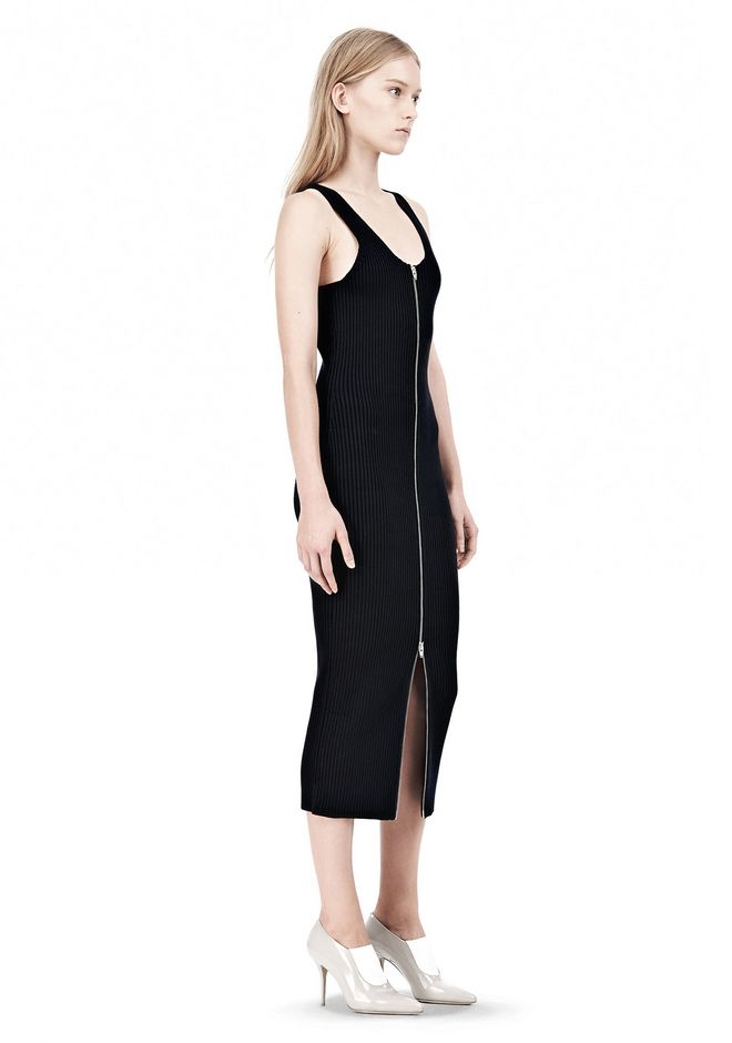 T by ALEXANDER WANG COTTON RIB KNIT TWO-WAY ZIP DRESS KNIT DRESS Adult 12_n_e
