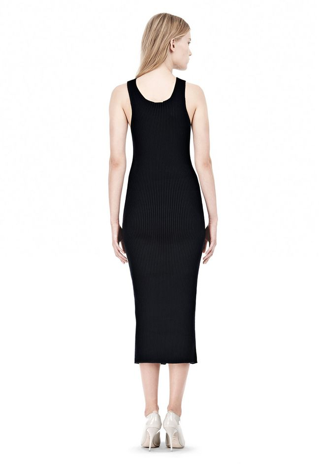 T by ALEXANDER WANG COTTON RIB KNIT TWO-WAY ZIP DRESS KNIT DRESS Adult 12_n_r