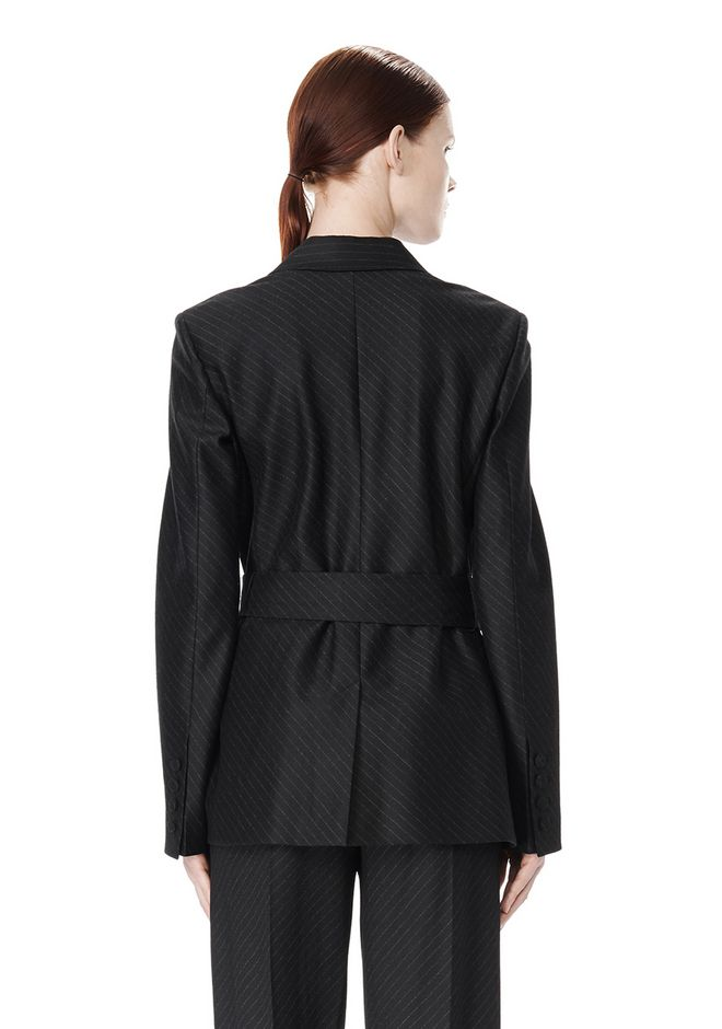 ALEXANDER WANG PINSTRIPE ROBE BLAZER WITH BELT JACKETS AND OUTERWEAR  Adult 12_n_a