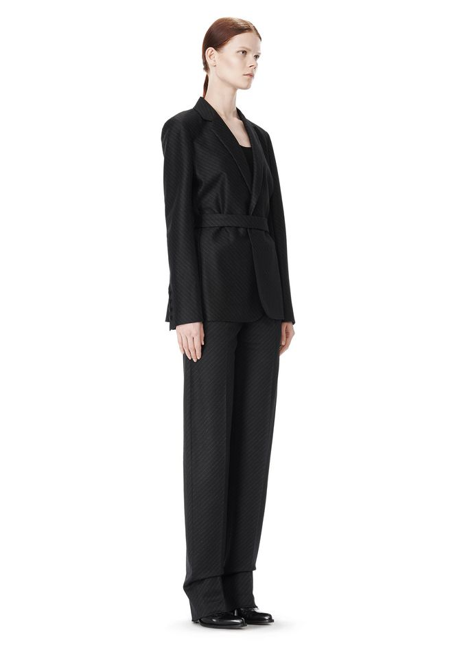 ALEXANDER WANG PINSTRIPE ROBE BLAZER WITH BELT JACKETS AND OUTERWEAR  Adult 12_n_e