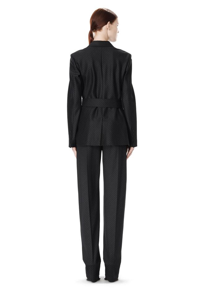 ALEXANDER WANG PINSTRIPE ROBE BLAZER WITH BELT JACKETS AND OUTERWEAR  Adult 12_n_r