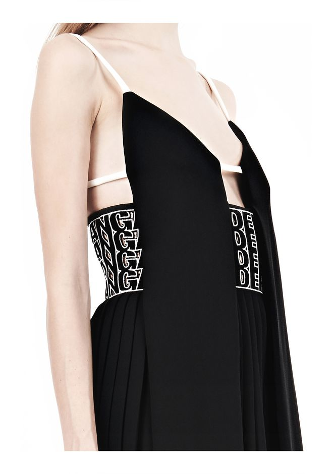 ALEXANDER WANG CAMISOLE DRESS WITH LOGO EYELET EMBROIDERY 3/4 length dress Adult 12_n_d