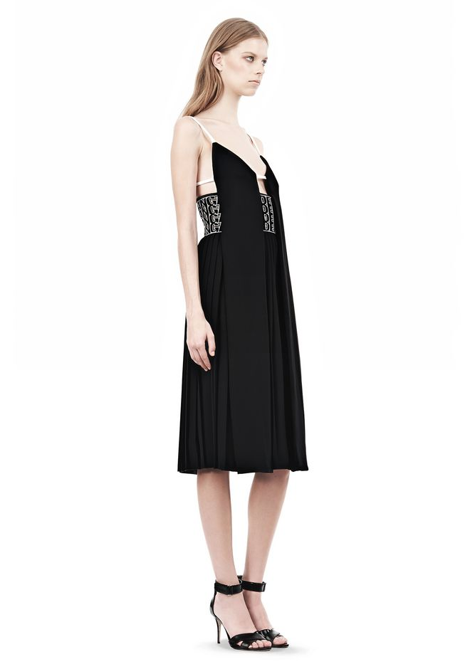 ALEXANDER WANG CAMISOLE DRESS WITH LOGO EYELET EMBROIDERY 3/4 length dress Adult 12_n_e