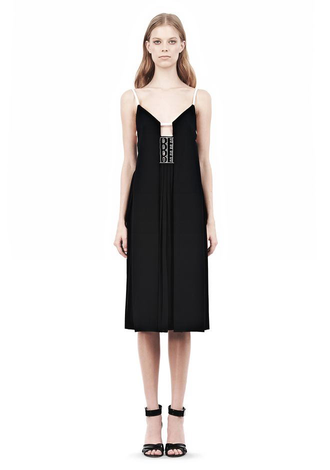 ALEXANDER WANG CAMISOLE DRESS WITH LOGO EYELET EMBROIDERY 3/4 length dress Adult 12_n_f
