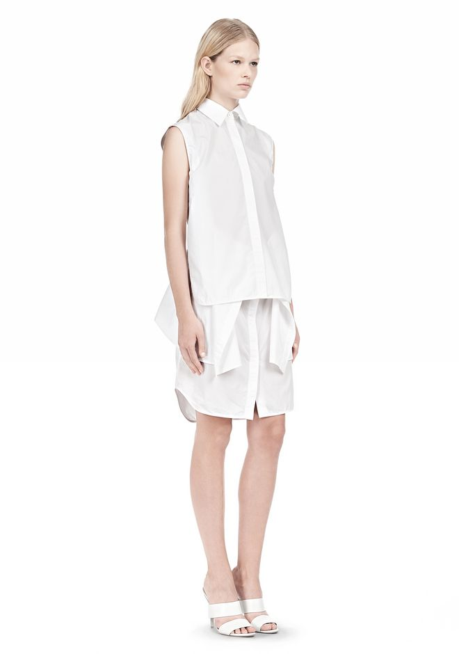 ALEXANDER WANG DOUBLE SLEEVE POPLIN SHIRTDRESS  Short Dress Adult 12_n_e