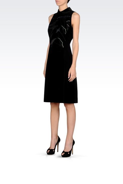 RUNWAY DRESS IN VELVET WITH EMBROIDERY: Short Dresses Women by Armani - 3