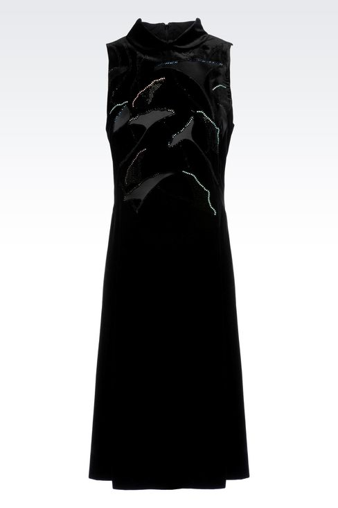RUNWAY DRESS IN VELVET WITH EMBROIDERY: Short Dresses Women by Armani - 1