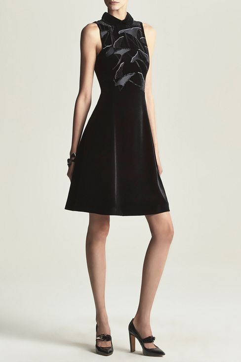 RUNWAY DRESS IN VELVET WITH EMBROIDERY: Short Dresses Women by Armani - 2