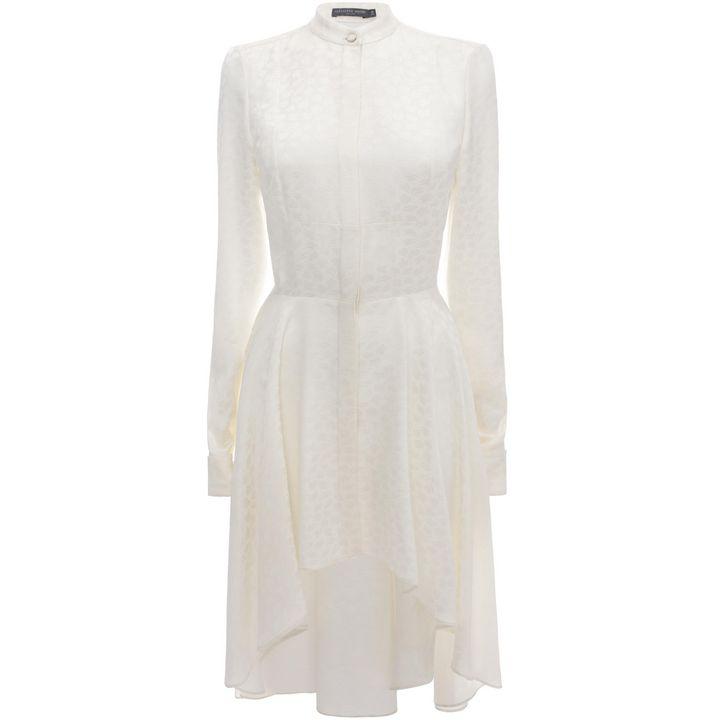 Alexander McQueen, Gathered Leaf Jacquard Shirt Dress