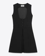 Miniabito Tuxedo svasato nero in sablé di lana