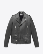 CLASSIC MOTORCYCLE JACKET IN Grey LEATHER