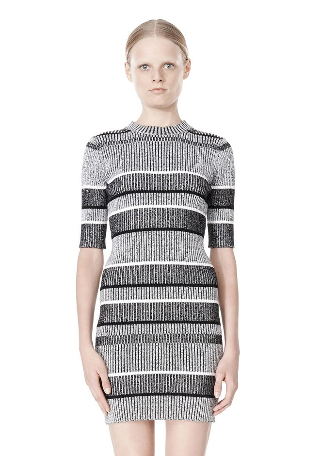 T by ALEXANDER WANG RIB KNIT SHORT SLEEVE DRESS Short Dress Adult 12_n_d