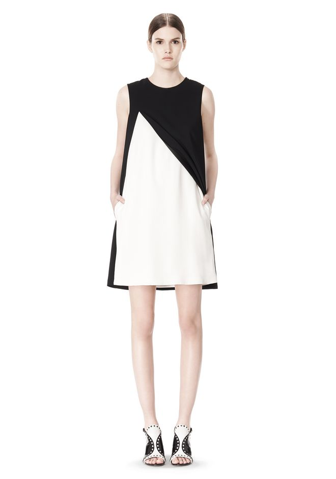 ALEXANDER WANG DOUBLE LAYER DRESS WITH CONTRAST SLIT Short Dress Adult 12_n_f