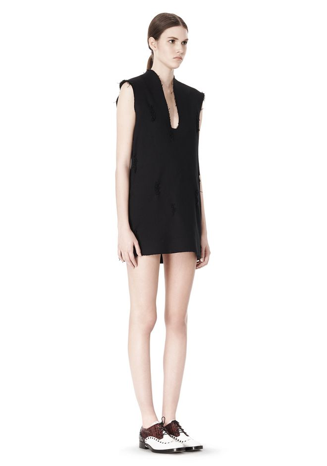 ALEXANDER WANG DISTRESSED SLEEVELESS V-NECK TUNIC Short Dress Adult 12_n_e