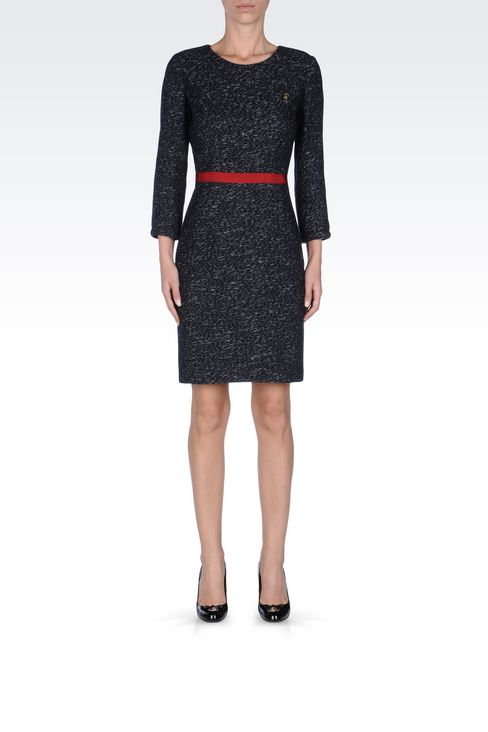WOOL BLEND SHEATH WITH BELTED WAIST: Short Dresses Women by Armani - 2