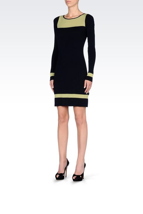 DRESS IN TWO-COLOUR WOOL AND VISCOSE: Short Dresses Women by Armani - 3