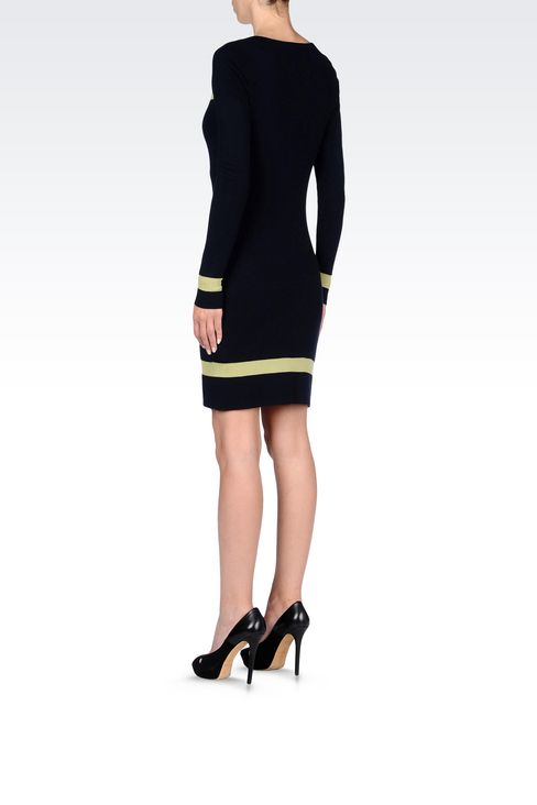 DRESS IN TWO-COLOUR WOOL AND VISCOSE: Short Dresses Women by Armani - 4