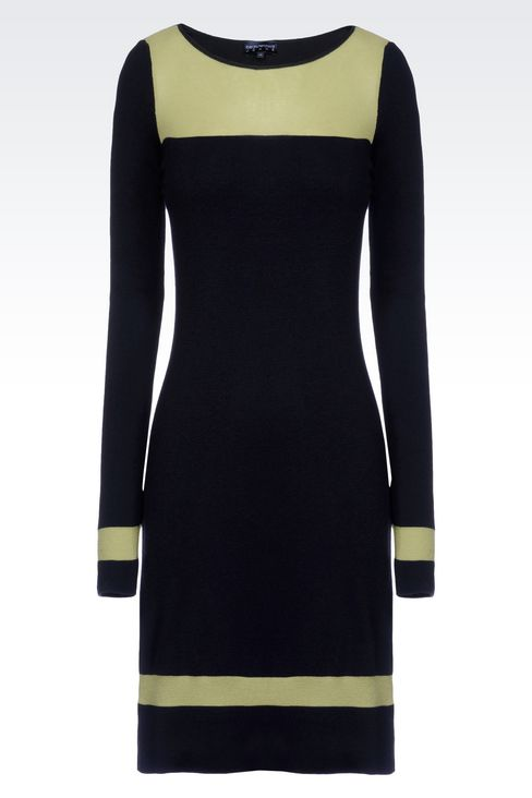 DRESS IN TWO-COLOUR WOOL AND VISCOSE: Short Dresses Women by Armani - 1