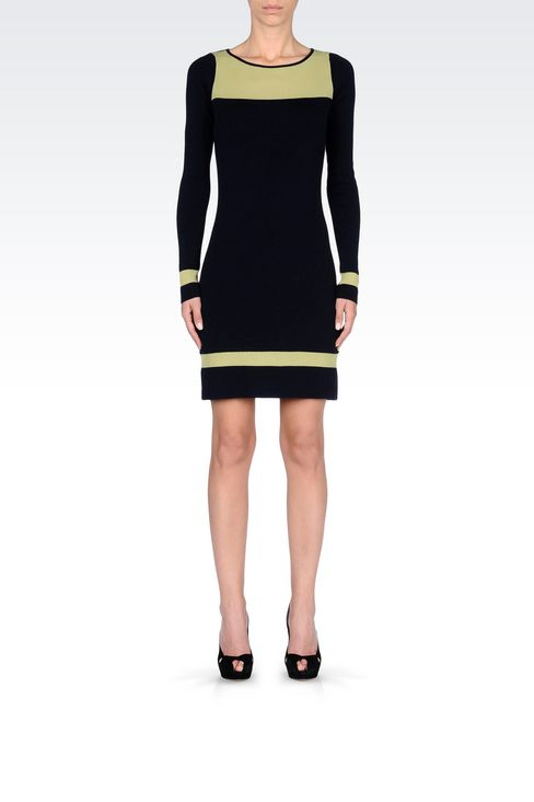 DRESS IN TWO-COLOUR WOOL AND VISCOSE: Short Dresses Women by Armani - 2