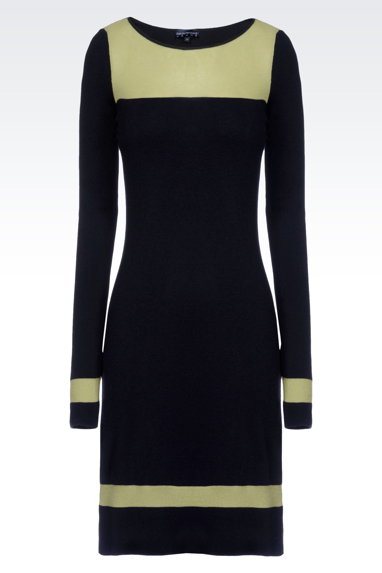 DRESS IN TWO-COLOUR WOOL AND VISCOSE: Short Dresses Women by Armani - 0