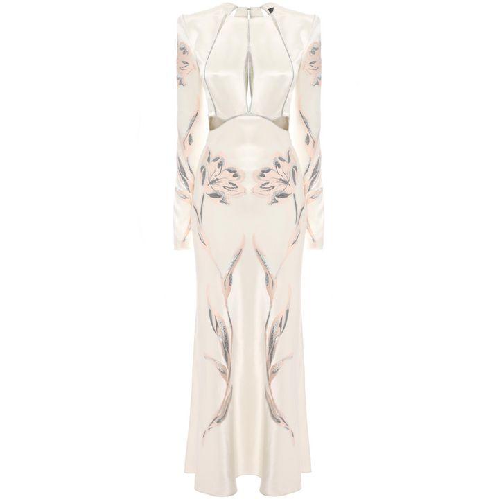 Alexander McQueen, Tulip Jacquard Slash A-Line Dress