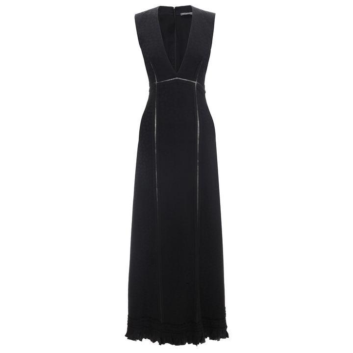 Alexander McQueen, Leaf Jacquard Ruffle A-Line Dress