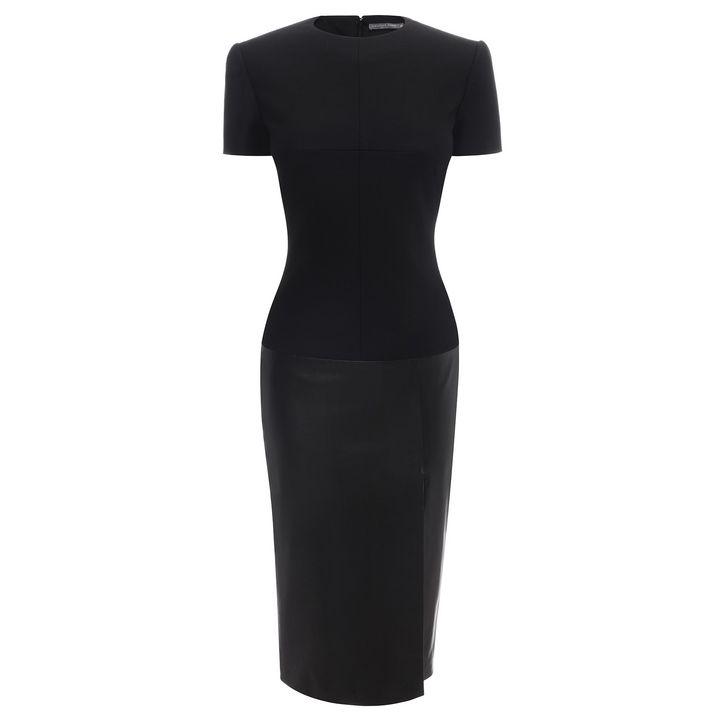 Alexander McQueen, Leather Cross Slit Pencil Dress