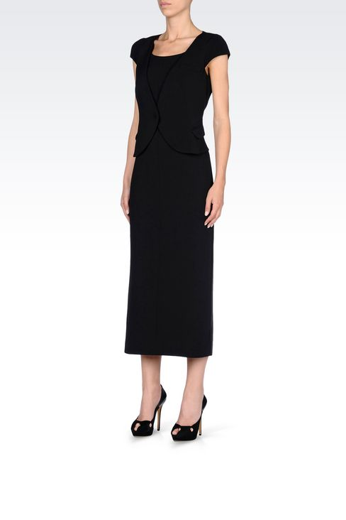 LONG DRESS WITH APPLIED GILET: 3/4 Length Dresses Women by Armani - 3