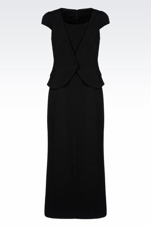 LONG DRESS WITH APPLIED GILET: 3/4 Length Dresses Women by Armani - 1