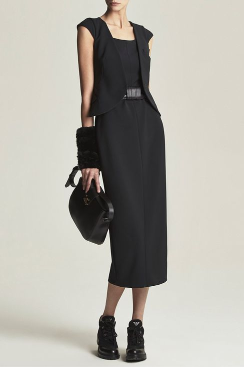 LONG DRESS WITH APPLIED GILET: 3/4 Length Dresses Women by Armani - 2