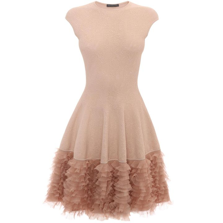 Alexander McQueen, Tonal Lace Knit Ruffle Dress