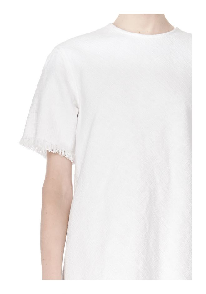 T by ALEXANDER WANG COTTON CREWNECK DRESS WITH FRAYED HEM Short Dress Adult 12_n_a