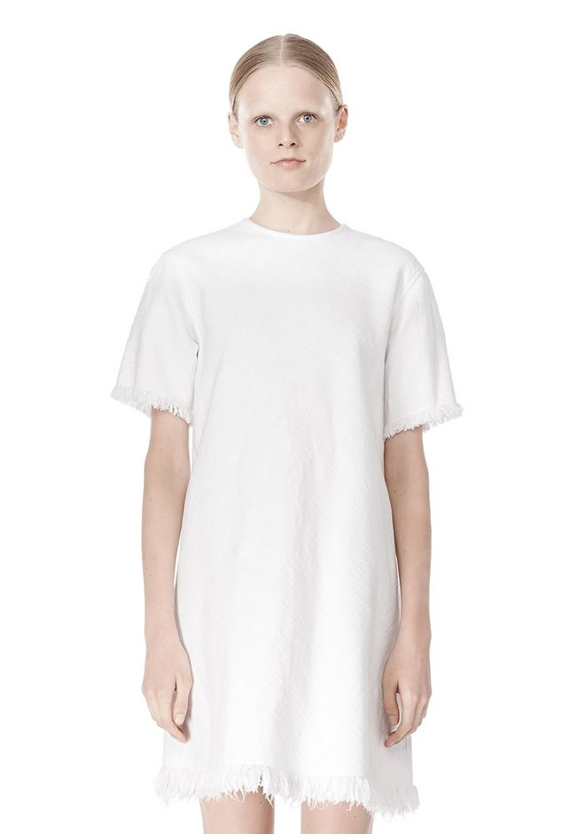 T by ALEXANDER WANG COTTON CREWNECK DRESS WITH FRAYED HEM Short Dress Adult 12_n_d