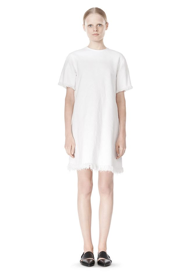 T by ALEXANDER WANG COTTON CREWNECK DRESS WITH FRAYED HEM