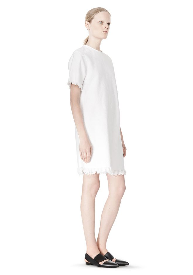 T by ALEXANDER WANG COTTON CREWNECK DRESS WITH FRAYED HEM Short Dress Adult 12_n_r