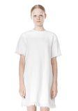 T by ALEXANDER WANG COTTON CREWNECK DRESS WITH FRAYED HEM Short Dress Adult 8_n_d