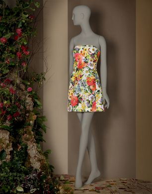 ALL-OVER FLOWER PRINT BUSTIER DRESS - Short dresses - Dolce&Gabbana - Winter 2016