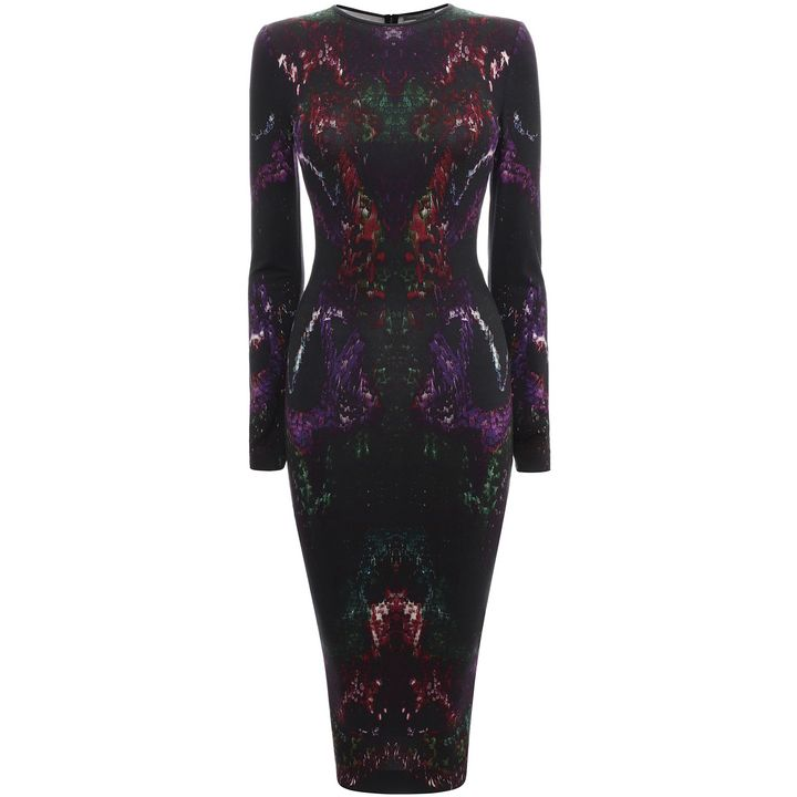 Alexander McQueen, Moth Print Jersey Ruffle Dress