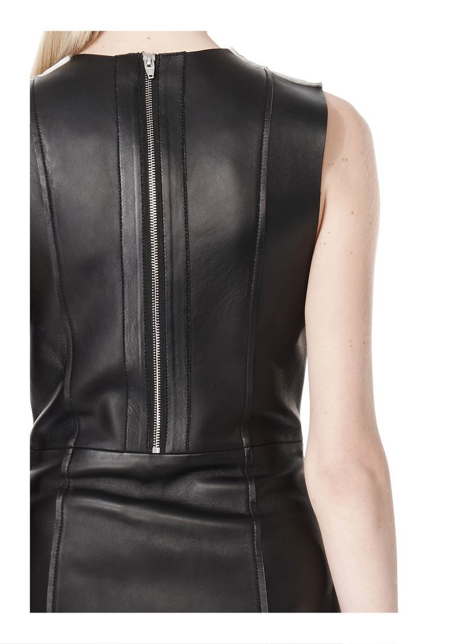 T by ALEXANDER WANG RAW EDGE SLEEVELESS LEATHER SHIFT DRESS Short Dress Adult 12_n_a