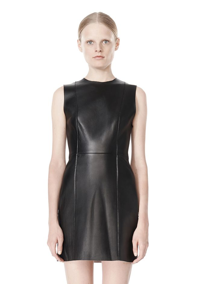 T by ALEXANDER WANG RAW EDGE SLEEVELESS LEATHER SHIFT DRESS Short Dress Adult 12_n_d
