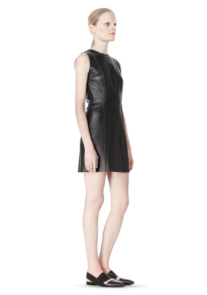 T by ALEXANDER WANG RAW EDGE SLEEVELESS LEATHER SHIFT DRESS Short Dress Adult 12_n_e